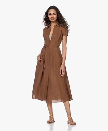 Kyra & Ko Pebble Linen Midi Shirt Dress - Tobacco