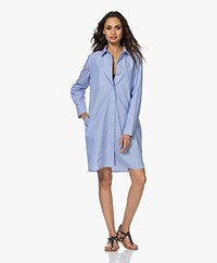 Repeat Striped Cotton Shirt Dress - Light Blue