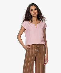 Kyra & Ko Terri Bamboo Blouse with Short Sleeves - Rose