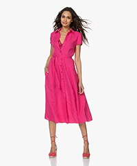 Kyra & Ko Pebble Linen Midi Shirt Dress - Pink