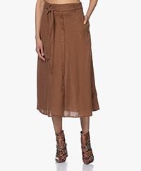 Kyra & Ko Caroline Linen A-line Skirt - Tobacco