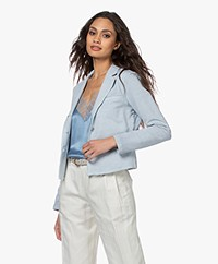 no man's land Cotton Jersey Blazer - Pearl Grey