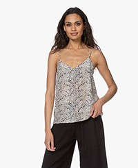 Equipment Layla Zijden Camisole met Slangenprint - Off-white
