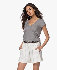 James Perse V-neck T-shirt in Extrafine Jersey - Heather Grey