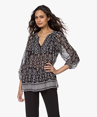 Repeat Chiffon Tunic Blouse with Print - Black