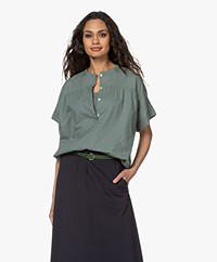 by-bar Bo Cotton Short Sleeve Blouse - Olive