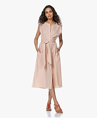 Repeat Tencel Midi Doorknoopjurk - Peach