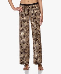 SIYU Celosia Tech Jersey Printed Pants - Black/Beige