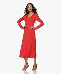 Filippa K Rosaline Tech Jersey Fit & Flare Dress - Red Orange