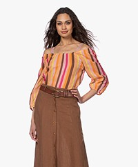 Kyra & Ko Lotus Striped Cotton Voile Blouse - Rose