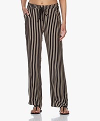 Plein Publique Le Paris Striped Viscose Pants - Black/Beige