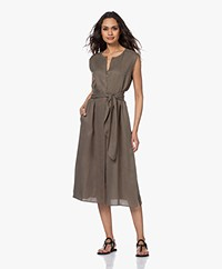 Repeat Tencel Midi Button-through Dress - Khaki