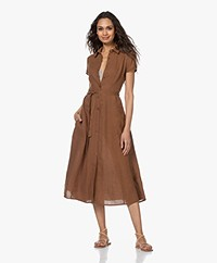 Kyra & Ko Pebble Linen Midi Shirt Dress - Tobacco