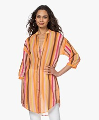 Kyra & Ko Manna Striped Cotton Voile Tunic Blouse - Rose