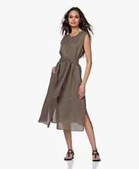 Repeat Tencel Midi Button-through Dress - Khaki
