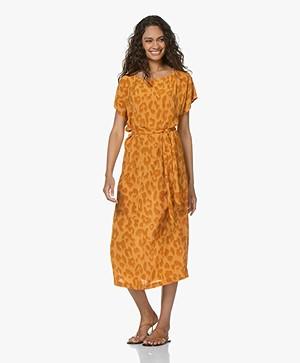 Drykorn Odelia Viscose Printed Midi Dress - Orange