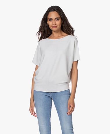 no man's land Cotton Short Sleeve Sweater - Light Pearl Grey
