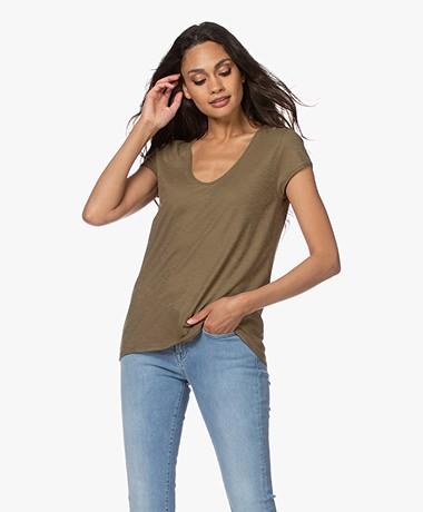Drykorn Avivi Slub Jersey T-shirt - Army