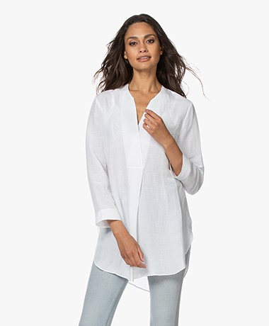 LaSalle Viscose Blend Tunic Blouse - White