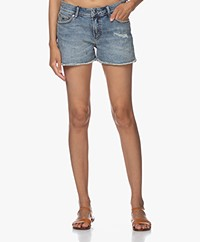 Denham Monroe Ripped Denim Shorts - Blue