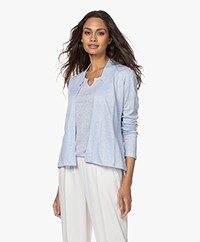 no man's land Short Linen Jersey Cardigan - Sky