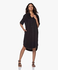 JapanTKY Yuriko Tencel Short Sleeve Shirt Dress - Black