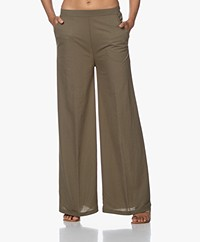 LaSalle Pique Jersey Wide Leg Pants - Green