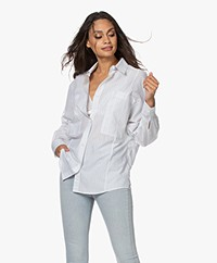 IRO Akumal Oversized Pinstripe Blouse - White/Grey