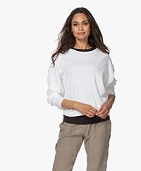 American Vintage Ixikiss Rib Katoenen Sweatshirt - Wit