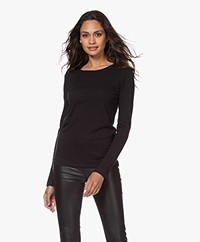 Majestic Filatures Carly Soft Touch R-hals Longsleeve - Zwart