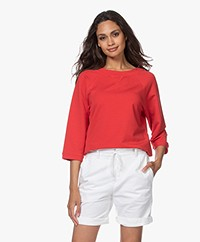 no man's land Sweater met Cropped Mouwen - Rood