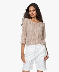 no man's land Lace Cropped Sleeve T-shirt -  Powder Pink