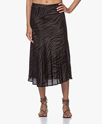 Plein Publique Le Cristal Viscose Midi Skirt - Zebra