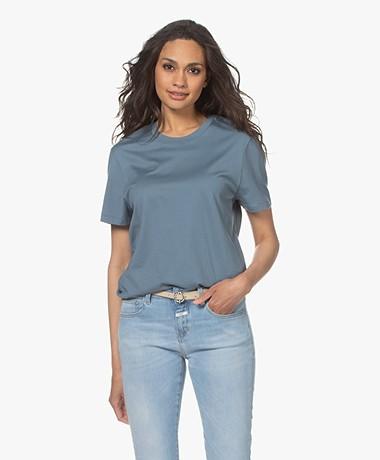 Joseph Katoenen T-shirt met Ronde Hals - Blue Steel