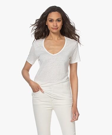 Closed Linen V-neck T-shirt - Ivory