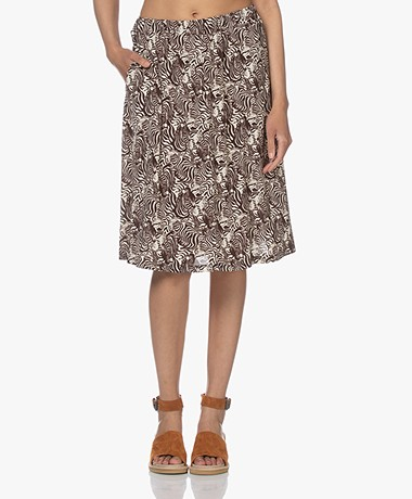 LaSalle Viscose Blend A-Line Printed Skirt - Capri