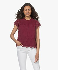 indi & cold Embroidered Chiffon Short Sleeve Blouse - Cereza