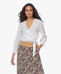 Rails Raquel Linen Blend Wrap Blouse - White