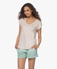 by-bar Mila Linnen V-hals T-shirt - Oyster