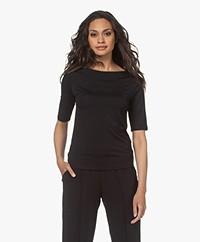 LaSalle Tencel Boothals T-shirt - Zwart