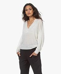 IRO Erica Linen Blend Sweater with Dolman Sleeves - Ecru