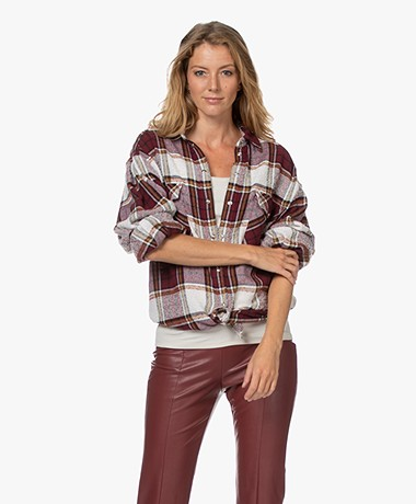 IRO Hatik Geruite Wolmix Overhemdblouse - Rood Multi-color