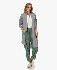 Closed Knitted Knee-length Open Cardigan - Grey Melange