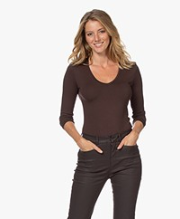 Majestic Filatures Soft Touch V-neck Long Sleeve - Coffee