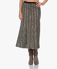LaSalle Knitted A-line Midi Jacquard Skirt - Zebra