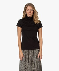no man's land Roll-Neck Viscose T-shirt - Core Black