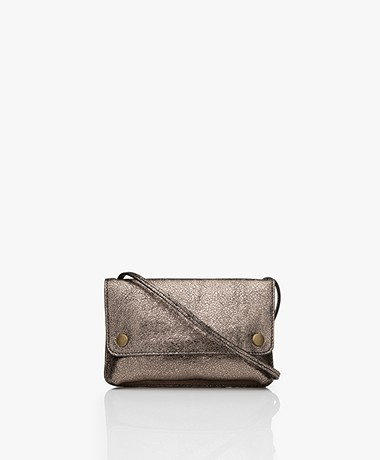 by-bar Julie Crackle Leather Cross-body Bag - Biscuit