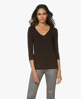 Majestic Filatures Cropped Sleeve T-Shirt with V-neck - Black