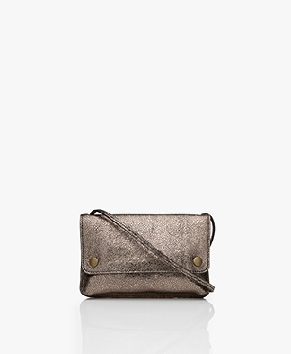 by-bar Julie Craquelé Leren Cross-body Tas - Biscuit