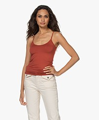 Majestic Filatures Anais Soft Touch Jersey Spaghetti Strap Top - Terre de Sienne